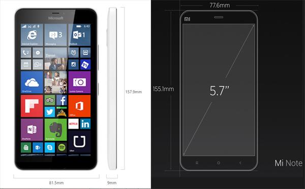 El Microsoft Lumia 640 y el Xiaomi Mi Note Pro apenas difieren en su tamaño, siendo el segundo un poco más pequeño.